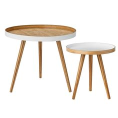 2 Piece End Table Set $184US allmod  Large Table	19.5'' H x 23.5'' W x 23.5'' D  Small Table	16.75'' H x 15.75'' W x 15.75'' D