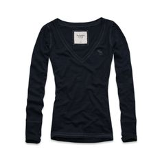 "Abercrombie & Fitch • ""Drew"" V-Neck Knit Top in Navy (S) $19"