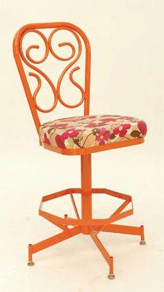 Orange Stool with Flower Cushion