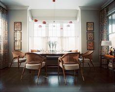 Custom David Weeks Boi chandelier, caned oak armchairs from Lorin Marsh