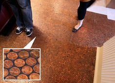 """Ironically, we did penny tile in both of our bathrooms. As to the ""how"" of this project, you can get mesh backing that's adhesive on one side. Stick all the pennies to that, in 8"" or 12"" squares, then lay it down in grids like any other tile that's similar. Grout it & voila! Pretty cool effect, but the anal retentive in me badly wants of them heads-up & facing the same direction!"""