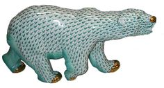 Herend Hand Painted Porcelain Figurine of Large Walking Polar Bear, Green Fishnet w Gold Accents.