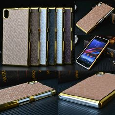Luxury Leather PU Chrome Hard Back Cell Phone Case Cover For Sony Xperia Phone