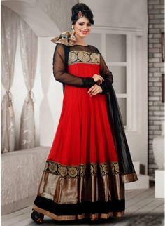 Majesty Black & Red Net Embellished #Salwar #Kameez