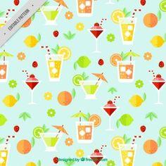 Patrón de bebidas planas tropicales