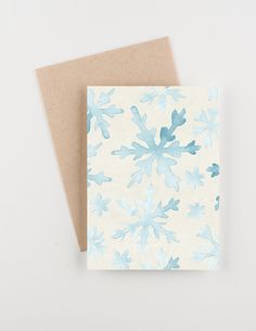 Snowfall,  Holiday 2015 Christmas and New Years Greetings Card, Watercolor, Blue and Silver by seahorsebendpress on Etsy