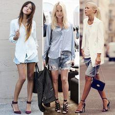 Pegue um shorts boyfriend – ou qualquer modelo jeans pelo menos uma numeração maior da que você veste – combine com uma camisa ou blazer, e pra finalizar a produção, escolha um sapato de salto de sua preferência. O mix de elementos masculinos e despojados com outros femininos e sofisticados, resultam em uma produção despretenciosa e muito cool.