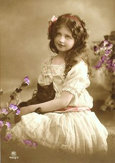Vintage- girl with cat