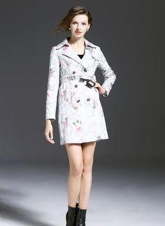 Cotton & Cotton Blend As Picture Long Long Sleeve Lapel Coats & Jackets