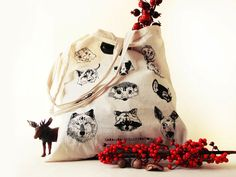 Jutebeutel mit Waldtieren // Woodland animal tote bag by SarahPalisi via DaWanda.com
