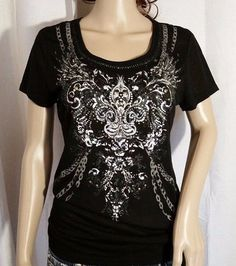 NWT Miss Me Lace Back Embellished Cross Top Black Size Large #MissMe #Blouse