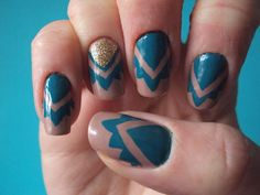 mocha blue, and gold nails