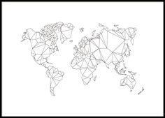 Weltkarte in graphischem Stil mit Polygonmuster. Schwarzweiß-Poster mit Karte. Am besten hübsch einr...