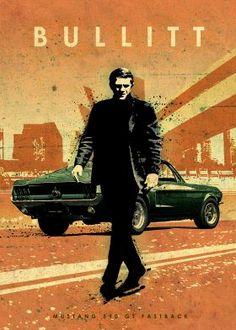 steel poster Movies & TV ford mustang 390 gt fastback frank bullitt