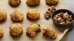 """Walnut Manchego Puffs (""""gougere"""" in French) Appetizer Salads, Appetizer Recipes, Snack Recipes, Yummy Recipes, Vegetarian Recipes, Elegant Appetizers, Best Appetizers, California Walnuts, Biscuits"""