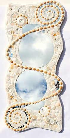 Sold, Mosaic spiral mirror, Commissioned, Cornish shells, sea glass and sea pottery