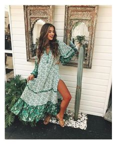 9c687a759108 Spell & The Gypsy Collective Siren Song Winona Boho Maxi in Ivy - Sun  Kissed Diary