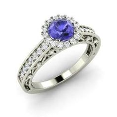 Engagement Rings - Ayra - Tanzanite Engagement Ring in 14k White Gold with SI Diamond (0.8 ct.tw.)