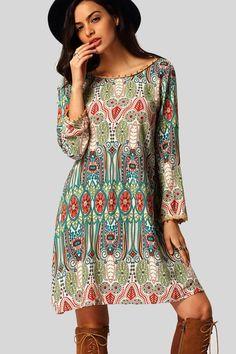 Bohemian Ornate Print Vestido Dress