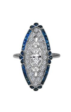Art-Deco Oval Diamond Engagement Ring Blue Sapphire Halo