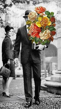 """Aww, you didn't have to!"""" by Eugenia Loli Image of a suited man walking down the road while holding a pot of large flowers. Collage Kunst, Surreal Collage, Collage Artists, Surreal Art, Collages, Photomontage, Eugenia Loli, Kunst Online, Illustration Art"""
