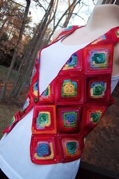 Red Granny Square Crocheted Vest
