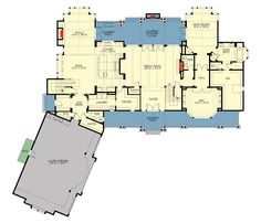 Grand Craftsman Manor - floor plan - Main Level Don't need the extra family room on main, move garage behind kitchen. Lake House Plans, Country House Plans, Dream House Plans, House Floor Plans, My Dream Home, Dream Homes, Architectural Design House Plans, Architecture Design, House Layouts
