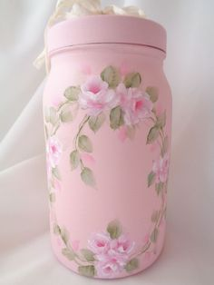ROMANTIC CANISTER STORAGE JAR hp roses chic shabby vintage cottage hand painted #Unbranded #RomanticChic