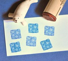 Snowflake Square Rubber Stamp by norajane on Etsy