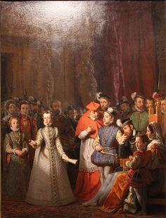 The Education of Mary Stuart at the Court of Francis II by Gillot Saint-Evre François Ii, Elizabethan Costume, Marie Stuart, Western World, Louvre, Grand Palais, Renaissance Art, 16th Century, Saint