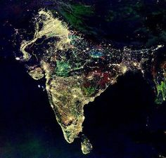 "India at night during Diwali: ""The Festival of Lights"" compliments of NASA http://www.heathermullinsowens.com"