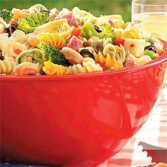 Picnic Pasta Salad:  This crowd-pleaser is loaded with vegetables, beans and tricolor pasta.