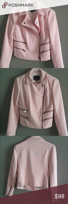 Banana Republic Light Pink Moto Jacket 2P Banana Republic Light Pink Moto Jacket 2P.  Stretchy and comfortable!  Because of the stretch, it can fit a 0 as well.  Great quality thicker jacket.  Slightly cropped because it is a petite size.  Excellent condition!  Worn only a couple of times. Banana Republic Jackets & Coats