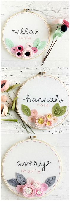 What a sweet addition to a nursery - personalized embroidery hoop art with felt flowers. #EmbroideryGifts