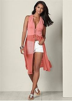 Burnt Coral V-Neck Maxi Top from VENUS women's swimwear and sexy clothing. Order Burnt Coral V-Neck Maxi Top for women from the online catalog or Sexy Outfits, Chic Outfits, Fashion Outfits, Summer Outfits, Venus Swimwear, Women's Swimwear, Cream T Shirts, Latest Fashion For Women, Womens Fashion