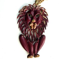 1960s Lion Pendant Articulated Grand LEO by VintageStarrBeads, $17.99