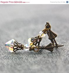 SALE Clear Crystal Earrings Aurora Borealis by JewelryByMagda, $19.20