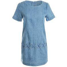 Sans Souci Denim shift dress (2,070 DOP) ❤ liked on Polyvore featuring dresses, denim, blue dress, criss cross dress, blue shift dress, denim dresses and shiny dress