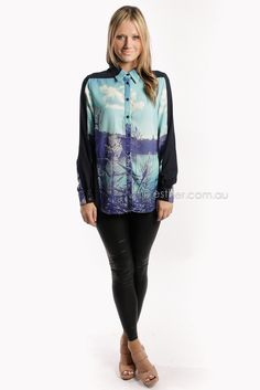 Esther Boutique - finders keepers december song long sleeve shirt - blue print. Really wanttttttt!