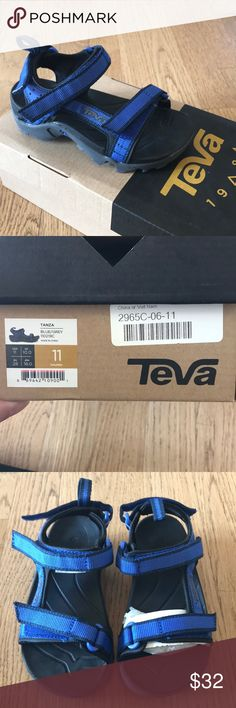 NWT Teva Lille boy Tanza sandal. New with box. Size 11 little boy. Teva Tanza sandal. Blue and grey. Teva Shoes Sandals & Flip Flops