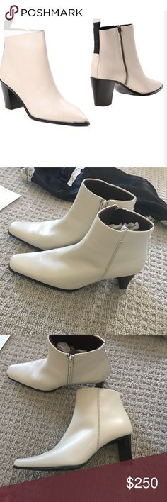"""White Leather Ankle Boots Genuine Italian Leather - Super soft white/ivory leather- 2.5"""" heel - inner closure Zipper - Vintage Shoes Ankle Boots & Booties"""