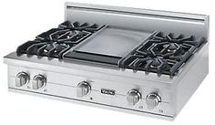 Viking 36 Inch Pro-Style Gas Rangetop with 4 VSH Pro Sealed Burners, VariSimmers, 12 Inch Griddle, SureSpark Automatic Re-Ignition System and Stainless Steel Knobs: Liquid Propane Major Kitchen Appliances, Viking Appliances, 36 Range, Arched Cabin, Viking Range, Cast Iron Griddle, Ignition System, Tuscan Style, Kitchen Interior