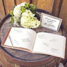 We want to know, what will your guestbook look like? Leather? Traditional? Wood? A leather guestbook journal is perfect for your rustic wedding. Even great as a unique art journal or travelers journal.