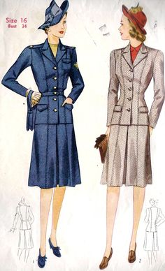 I like the subtle uniform vibe of the suit on the left (Simplicity 4151). I have this pattern!