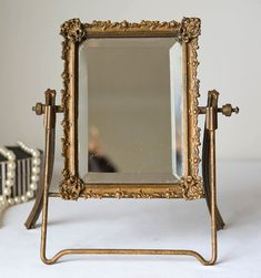 Victorian Beveled Glass Swing Back Easel Mirror