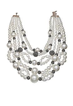 Jules B Gold-Tone Chunky Pearl Multistrand Necklace - Belk.com