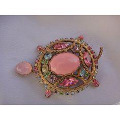 Vintage large stunning pink rhinestones stones turtle Brooch Pendant... ($285) ❤ liked on Polyvore featuring jewelry, rhinestone jewelry, rhinestone pendant, pink jewelry, turtle pendants jewelry and stone pendant