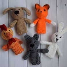 Crochet knitted toys for finger theater Octopus Crochet Pattern, Plush Pattern, Crochet Animal Patterns, Stuffed Animal Patterns, Crochet Patterns Amigurumi, Amigurumi Doll, Crochet Animals, Crochet Dolls, Crochet Gratis