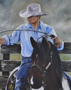 Roping With Jesse Paint Horse Western Art