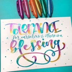 """""""Tolerance for ourselves and others is a blessing."""" Brush Lettering with a light grey Tombow dual brush pen. Glitter gel pens used on top of the base: Linc pens and Paperhouse pens. Brush Lettering Quotes, Doodle Lettering, Lettering Design, Typography, Fonts Gratis, Letter Art, Letters, Hand Photography, Photography Hacks"""